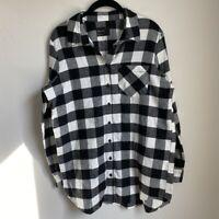 Free Press Womens Button Up Black White Checked Cotton Shirt Size Small