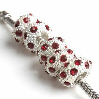 15pcs New Red Rhinestones Silvery Oblate Alloy Charms Beads DIY Fit  Bracelets L