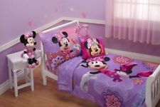 "Kids Girls Toddler Bedding Set Disney 4 Piece Minnie Mouse Lavender 28"" X 52 New"