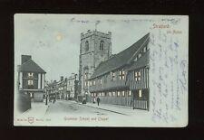 Warwicks Warwickshire STRATFORD-ON-AVON School Hold to Light PPC 1905