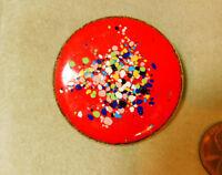 Vintage Bright Red Multi-color Enamel Round Brooch Pin  9j 26