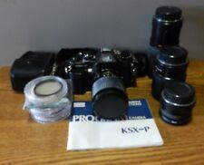 Vintage Sears KSX-P 35mm SLR Camera Dual 2 w/ 3 Lenses, case & More Bundle