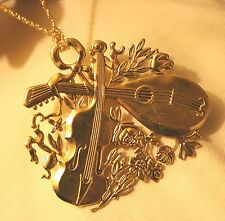 Lovely Shiny Holiday Christmas Violin & Lute Flowers Goldtone Brooch Necklace