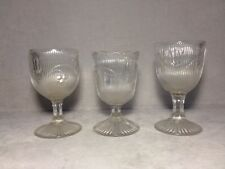3 Antique EAPG Fine Course Rib Flint Bellflower 2-Goblets & 1-Spooner