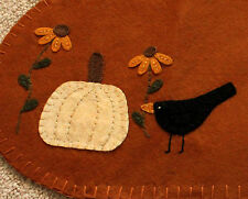 "18"" Burnt Orange Table Runner / Candle Mat w/pumpkin ~ Black Eyed Susans ~ Crow"