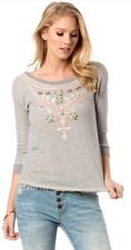 MISS ME Enchanted Embroidered Top Size L NWT MDT1103L Women Sweatshirt Gray