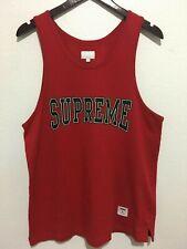 SUPREME Collegiate Tank Top Shirt Sleeveless Black Arc Logo Red Large L