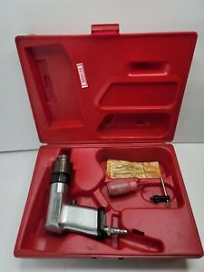 """Vintage Snap-On PD3 3/8"""" Heavy Duty Pneumatic Air Drill with Chuck, Oil and Case"""
