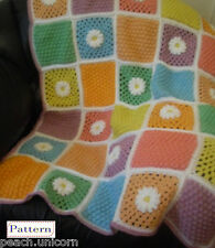 CROCHET PATTERN Lap Blanket Daisy Clusters Afghan Throw by Peach.Unicorn