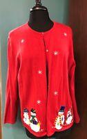 Croft & Barrow Women's Christmas Snowmen Cardigan Sweater 2X GUC