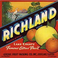 CRATE LABEL FLORIDA CITRUS RICHLAND GROVELAND HERON VINTAGE ADVERTISING ORIGINAL