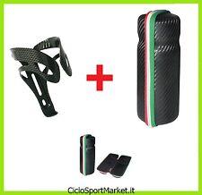 Borraccia porta oggetti / portatutto + Porta Borraccia in Alluminio CARBON LOOK