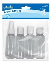 Clear empty Travel Bottles Pack Of 4  Approx 10cm × 3cm