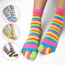 1 Pair Unisex Striped Five Finger Toe Socks Colorful Stripe Warm Casual Socks