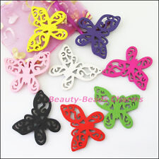 10Pcs Mixed Craft Wood Wooden Flower Butterfly Charms Pendants 45x49mm