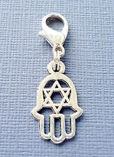 Pendant dangle HAMSA Hand palm Clip On Charm Lobster Clasp fits Link Chain C138
