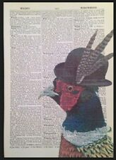 Pheasant Vintage Dictionary Page Print Wall Art Picture Quirky Animal Hunting