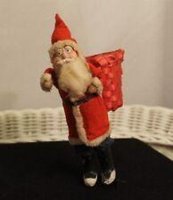 Antique Paper Mache Face Santa Claus Cloth Coat Porcelain Legs Add On Basket