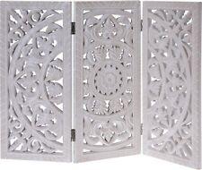 Ornamento Blanco 60x45 cm Shabby Casa Rural Mandala Madera Cuadro Anguloso