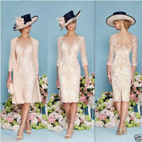 New Mother Of The Bride/Groom Outfits With Jacket Knee Length Formal Dress 6-20