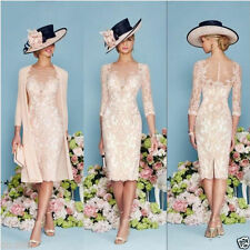 New Mother Of The Bride Groom Outfits With Jacket Knee Length Formal Dress 6
