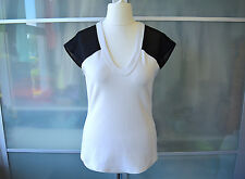 Karen Millen white t-shirt top & black mesh sleeves ~ UK 14