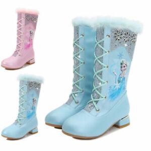 Frozen2 Kids Girls ELSA Disney Princess Cosplay Party  Plush Fleece High Boots