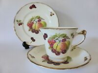 Old Foley Vintage Fruits Trio, James Kent Tea Cup, Saucer + Cake Plate Set