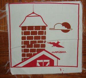 "Small 9"" x 9"" MARUSHKA Print ~ Unframed ~ Barn and Silo with Bird"