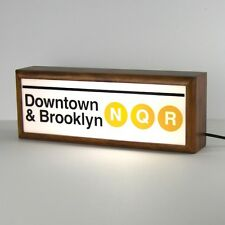 NY subway  'downtown & brooklyn' wooden lightbox studio lamp night light