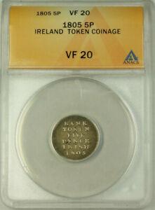 1805 Ireland Silver Five Pence Token Coinage ANACS VF 20 KM#Tn2 Sp#6619