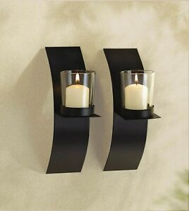 Modern Art curved Floating Candle Holder Wall Sconce Set home Decor
