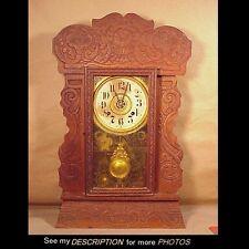New Haven Oak Time Strike & Alarm Gingerbread Mantle Clock Merchants Line