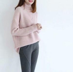 Women 100% Cashmere Pullover turtleneck sweater Long Sleeve Loose Coat knitwear