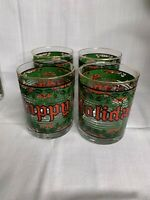 "Vintage Houze Glasses ""Happy Holidays"" Christmas Stained Glass Look. Set of 4"