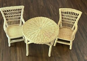 American Girl Doll Samantha's Wicker Table and Chairs TLC
