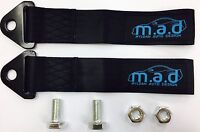 2 x BLACK M.A.D 280MM TOW STRAP LOOP RECOVERY HOOK TRACK DAY RACE CAR DRIFT