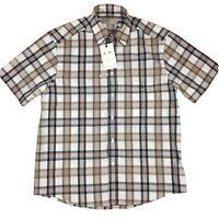 RM Williams Mens Bundaleer Short Sleeve Shirt Brown White Plaid Size S Small NEW