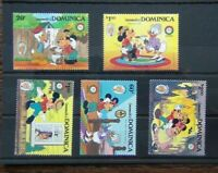 Dominica 1985 Anniversary of Mark Twain Walt Disney Cartoon Characters set MNH