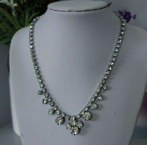 Vintage Retro Statement Silver Tone Clear Plastic Diamante Sparkly Necklace Mod