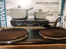 Farberware Solid Double Burner Hot Plate With Separate Temperature Controls, NEW
