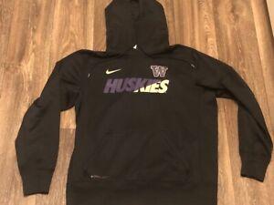 Washington Huskies Nike Therma Fit Black Hoodie Sweatshirt Size Large EUC Dawgs