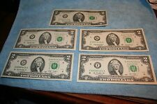 $2 DOLLAR FRN SET 1976 + 1995 + 2003 + 2009 BEP CU AND NEWEST BILL MADE 2013