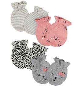 Gerber Baby Girl 4-Piece ORGANIC Mittens Set, Size 0-3M