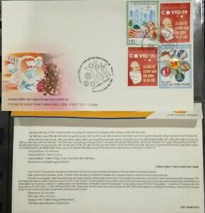 FDC Vietnam cover 2021 vignettes & perf stamps LIVING SAFELY WITH THE PANDEMIC
