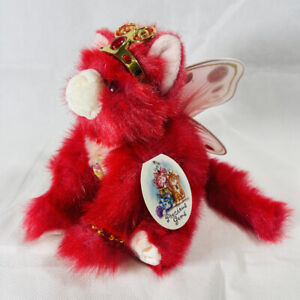 Vintage 2001 AURORA PRECIOUS GEMS Catapillers RUBY RED WINGED CAT Plush Toy NEW