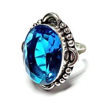 Silver Handmade Jewelry Ring Jj-2056 Swiss Blue Topaz Gemstone 925