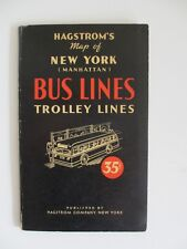 Vintage Hagstrom New York City Manhattan Bus Lines Map Guide Foldout