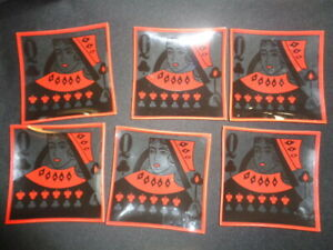 Playing Cards Snack Party Plates set of 6 Glass Queen Dishes