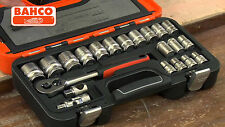 Bahco S240 Socket Set Square Drive 24 Piece 1/2 in Drive Ratchet Extension Case
